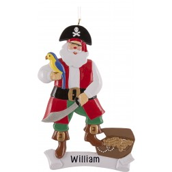 Image of Pirate Santa Personalized Christmas Ornament