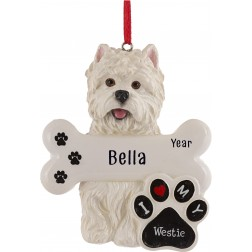 Image of Westie Dog Personalized Christmas Ornament