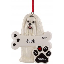 Image of Maltese Dog Personalized Christmas Ornament