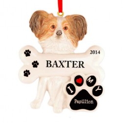 Papilion Dog Personalized Christmas Ornament