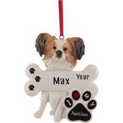 Image of Papilion Dog Personalized Christmas Ornament