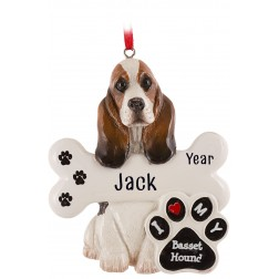 Image of Basset Hound Dog Personalized Christmas Ornament