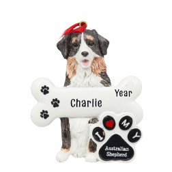 Image of Australian Shepherd Dog Personalized Christmas Ornament