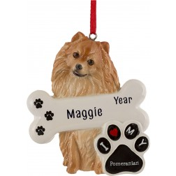 Image of Pomeranian Dog Personalized Christmas Ornament
