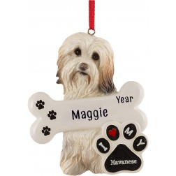 Image of Havanese Dog Personalized Christmas Ornament
