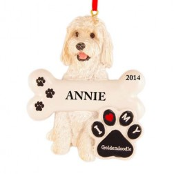 Image of Goldendoodle Dog Personalized Christmas Ornament