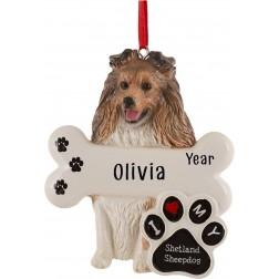 Image of Shetland Sheepdog Personalized Christmas Ornament