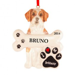 Brittany Dog Personalized Christmas Ornament