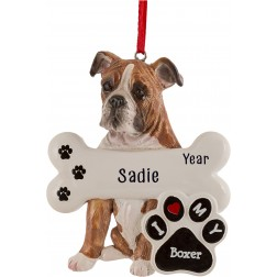 Image of Boxer Dog Personalized Christmas Ornament