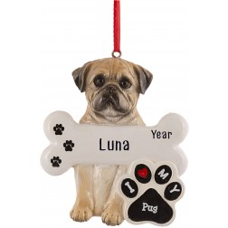 Image for Pug Dog Personalized Christmas Ornament