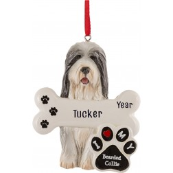 Image of Bearded Collie Dog Personalized Christmas Ornament
