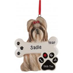 Image of Shih Tzu Dog Personalized Christmas Ornament