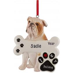 Image of Bulldog Personalized Christmas Ornament