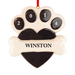 Heart Paw Black Personalized Christmas Ornament