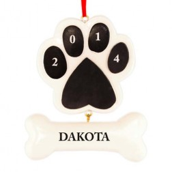 Paw with The Bone Black Personalized Christmas Ornament
