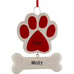 Image of Paw with The Bone Red Personalized Christmas Ornament