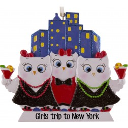 Image of Girls Night Out Owls W3 Personalized Christmas Ornament