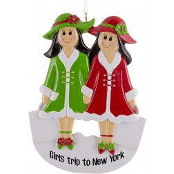 Image of Girlfriends Christmas With 2 Personalized Christmas Ornament