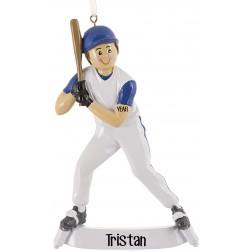 Image of Baseball Boy Blue Personalized Christmas Ornament