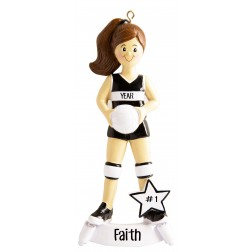 Image of Volleyball Girl Black Personalized Christmas Ornament
