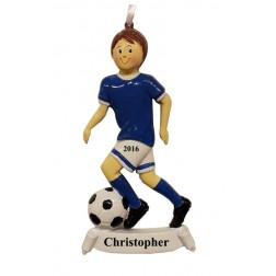 Soccer Boy Blue Personalized Christmas Ornament