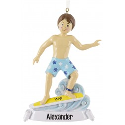 Image of Surfing Boy Personalized Christmas Ornament