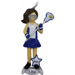 Image of Lacrosse Girl Blue Personalized Christmas Ornament