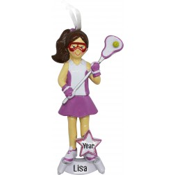 Image of Lacrosse Girl Pink Personalized Christmas Ornament