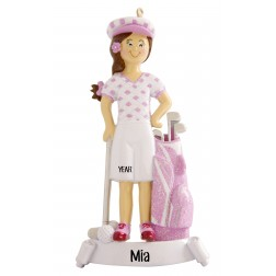 Image of Golf Traditional Girl Personalized Christmas Ornament