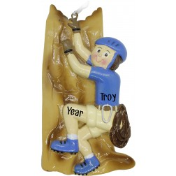 Image of Climber Boy Blue Personalized Christmas Ornament