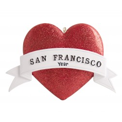 Image of San Francisco Heart Glitter Personalized Christmas Ornament