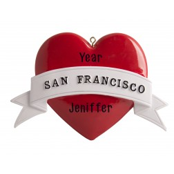 Image of San Francisco Heart Non Glitter Personalized Christmas Ornament