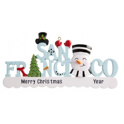 Image of San Francisco Word Snowman Personalized Christmas Ornament