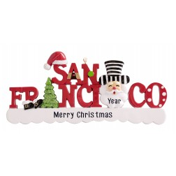 Image of San Francisco Word Santa Personalized Christmas Ornament