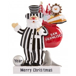Image of San Francisco Alcatraz Santa Carrying Personalized Christmas Ornament