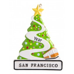 Image of San Francisco Heart Lombard Street Personalized Christmas Ornament