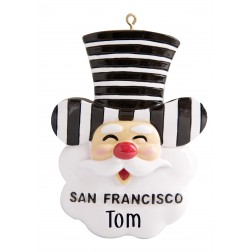 Image of San Francisco Alcatraz Santa Head Personalized Christmas Ornament