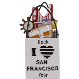 Image of San Francisco Shopping Bad 3D Personalized Christmas Ornament