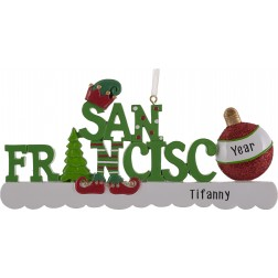 Image of San Francisco Word Elf Personalized Christmas Ornament