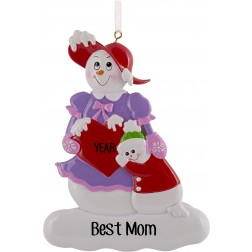 Image of Snow Family Mom Personalized Christmas Ornament