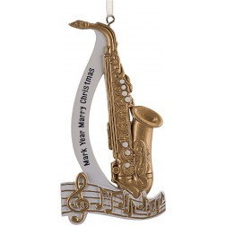 Image of Saxophone Personalized Christmas Ornament