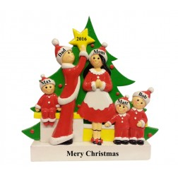 Tree Decorating Family of 5 Table Top
