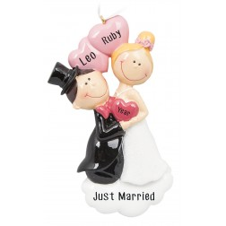 Image for Happy Proposal Wedding Couple Personalized Christmas Ornament