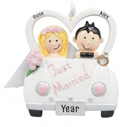 Image of Just Married Car Personalized Christmas Ornament