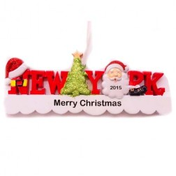New York Words Santa Personalized Christmas Ornament