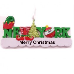 Image for New York Words Elf Personalized Christmas Ornament