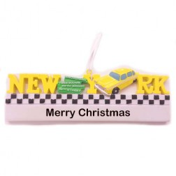 Image for New York Words Taxi Personalized Christmas Ornament