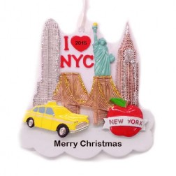 New York City Silhouette Personalized Christmas Ornament