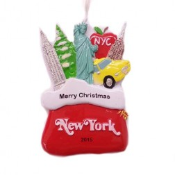 Santa Sack New York City Red Personalized Christmas Ornament