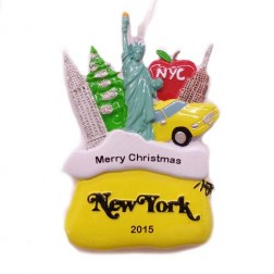 Santa Sack New York City Yellow Personalized Christmas Ornament